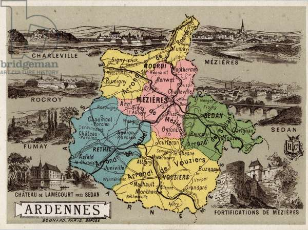 """Les Ardennes (08), Champagne Ardenne (Champagne-Ardenne), France. The fortified towns of Charleville, Mezieres and Rocroi, Sedan, Fumay and the castle of Lamecourt. Good geographic points. Chromolithography series """"La France, les departements illustres"""""""", H. Lemonnier and Fr. Schrader, ca. 1910. Private Collection"""