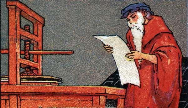 History of writing: Johannes Gensfleisch dit Gutenberg (1394/99-1468), German printer and inventor of printing, using his press for printing. Chromolithography beginning 20th century.
