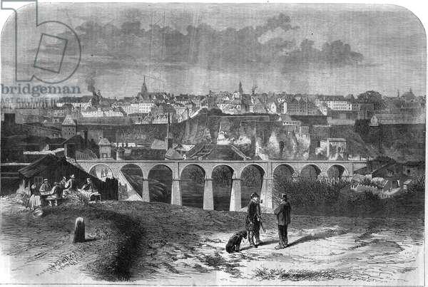 """General view of the city of Luxembourg. Engraving in """"The Illustrous Universe"""", 1867."""