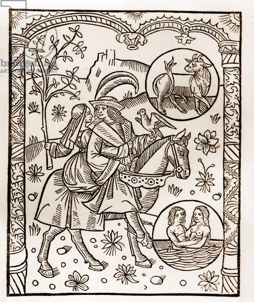 "Shepherd's calendar - The Labours of the Months - May - Woodcut from the 1496 book printed by Guy Marchant (Guido Mercator) at Troyes - Wood engraving in ""Le grand Calendrier et compost des shepherds"" -"