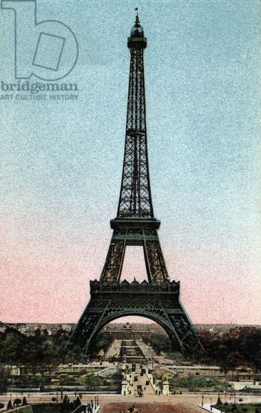 """Paris: view of the Eiffel Tower built between 1887 and 1889 by Gustave Eiffel (1832-1923). Photograph of 1920 in """""""" Artistic Album"""""""" of the city of Paris. Private collection."""