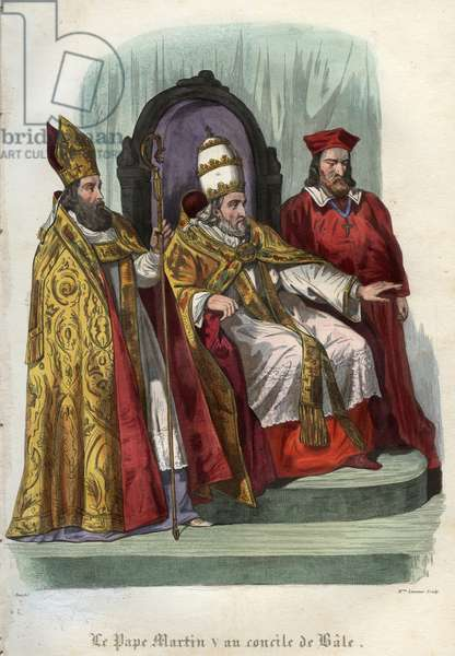 Pope Martin V (1368-1431) at the Council of Basel (Concile de Bale) in 1431