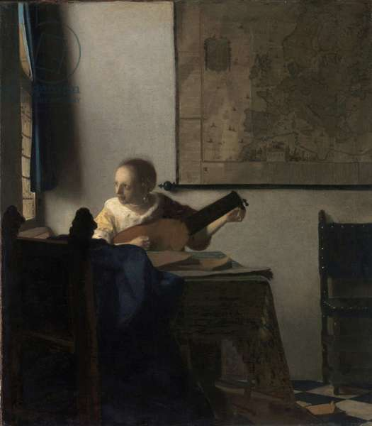 The Woman in the Lute - Painting by Johannes Vermeer (Vermeer de Delft) (1632-1675), oil on canvas, circa 1663, 51,4x45,7 cm. The Metropolitan Museum of Art, New York