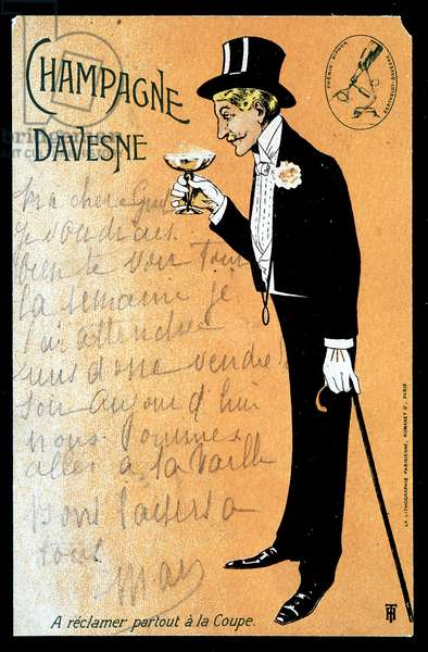 Champagne Davesne (a man tasting a glass of champagne), sd. early 20th century