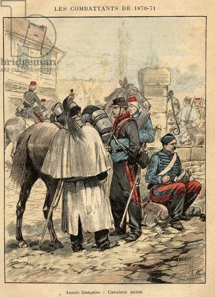 "French Armee: mixed cavalry - Engraving by Maurice Pallandre in ""The fighters of 1870-71"""" by commander Leonce Rousset (1850-1938) - Franco-German War"""" (1870-1871) - Franco Prussian War - (Deutsch-Franzosischer Krieg)"