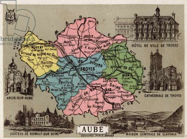 """L'Aube (10), Champagne Ardenne (Champagne-Ardenne), France. Arcis sur Aube, Town Hall of Troyes and the cathedrale, central house of Clairvaux and the castle of Romilly sur Seine. Good geographic points. Chromolithography series """"La France, les departements illustres"""""""", H. Lemonnier and Fr. Schrader, ca. 1910. Private Collection"""