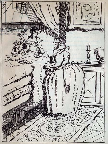 """The princess and the old queen. Engraving in """"La princess sur un pois"""""""", tale by Hans Christian Andersen (1805-1875), 1940."""