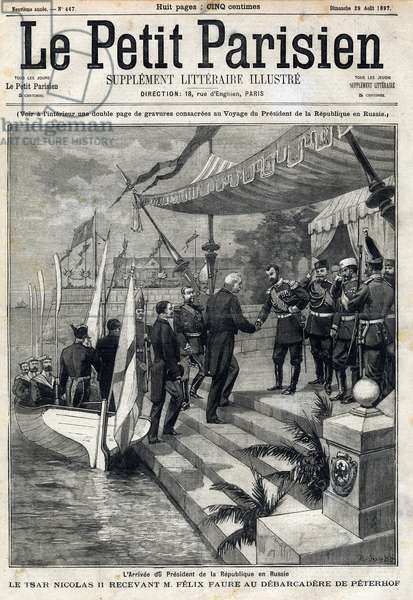 "The arrival of the President of the Republic Felix Faure (1841-1899) in Russia. Tsar Nicholas II (1868-1918) receiving Felix Faure at the debarcadere of Peterhof. In """" Le Petro Parisien"""" on 29/08/1897. Private Collection"