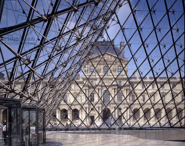 The Pyramid du Louvre in Paris. Architect of the pyramid: Ieoh Ming Pei