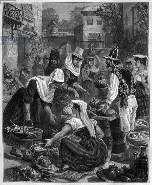 A market day in Tenerife (Tenerife) in the Canary Islands in the Atlantic Ocean - A day of walking in Tenerife (Tenerife) in the Canary Islands in the Atlantic Ocean - engraving of 1888