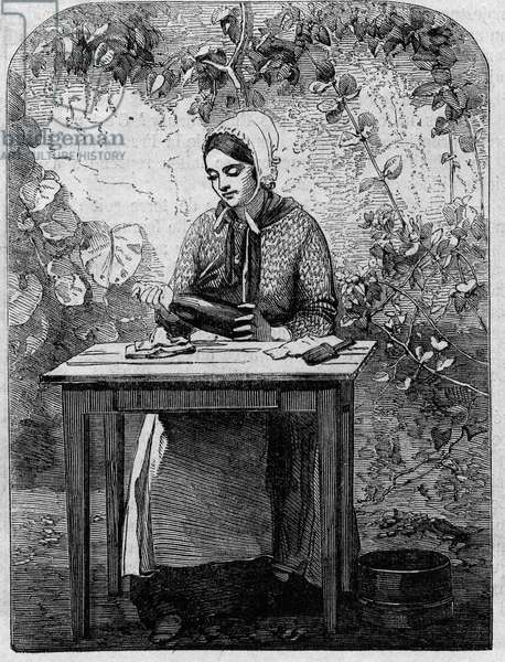 The bottling of Champagne wine. Engraving from 1864.