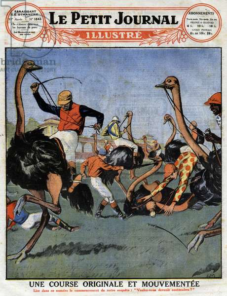 """An original and eventful race: ostrich race in Australia mounted by jockeys. Engraving in """""""" Le petit Journal Illustré"""""""" on 18/04/1926. Private collection."""