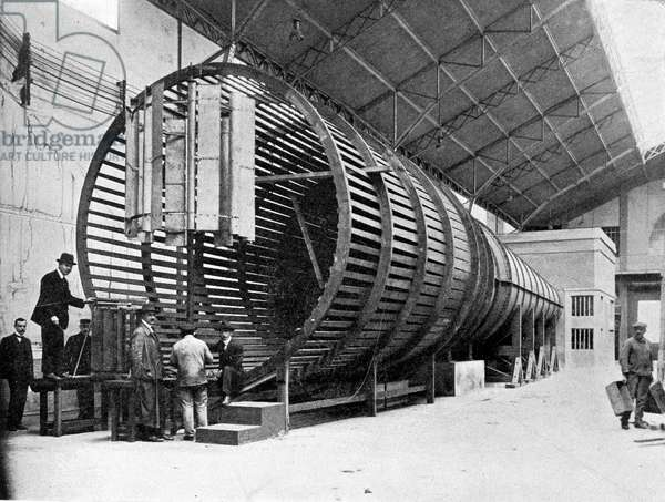 Saint Cyr Aerotechnical Institute. Installation of the large wind tunnel (Eiffel system).