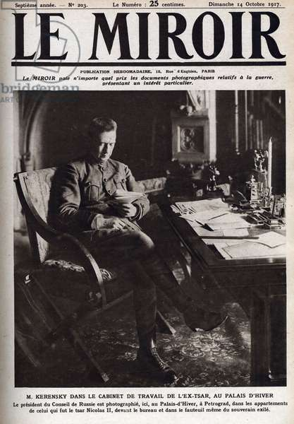 Aleksandr Fedorovich Kerensky (Kerensky) (1881-1970), a Russian politician, who heads the provisional government of Russia between the February and October 1917 Revolutions here in the former tsar's working cabinet at the Winter Palace.