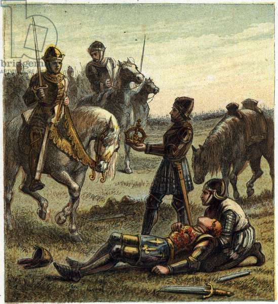 War of the Two Roses: death of King Richard III (1452-1485) during the Battle of Bosworth Field, which between the 22/08/1485 Richard III and Henri, Duke of Richmond. The latter received the crown of the dechu king and became Henry VII known as Henry Tudor (1457-1509). Illustration of the English Civil War born by the division of the successors of King Edward III (1327-1377) into two branches. The War of the Roses: death of Richard the Third at the Battle of Bosworth Field, 22 August 1485. Richard was killed on the battlefield and the crown passed to the Lancastrian champion, Henry Tudor (1457-1509) who, as Henry VII, became the first Tudor monarch of England.