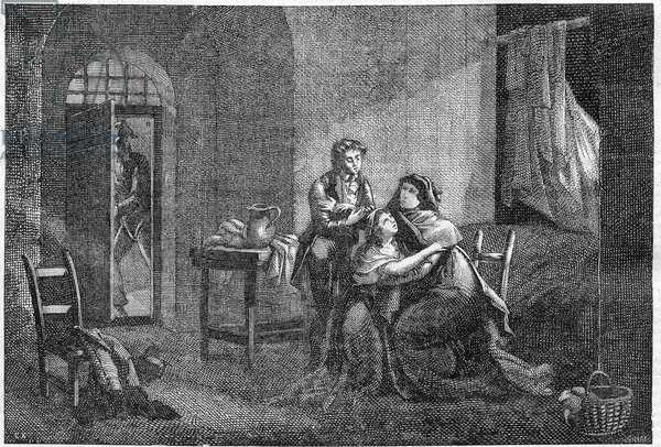 Eugene and Hortense Beauharnais consoling their mother Josephine de Beauharnais in his prison (Prison des Carmes), 1794