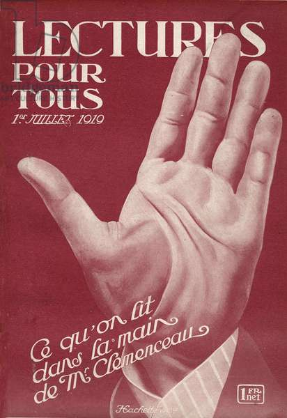 """Close-up of the hand of Georges Clemenceau (1841-1929), French politician. One of the newspaper """"Lectures pour tous"""""""" of July 1, 1919."""