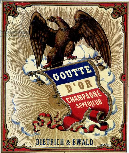 """Champagne label """""""" Goutte d'Or, champagne superior"""""""". 20th century"""