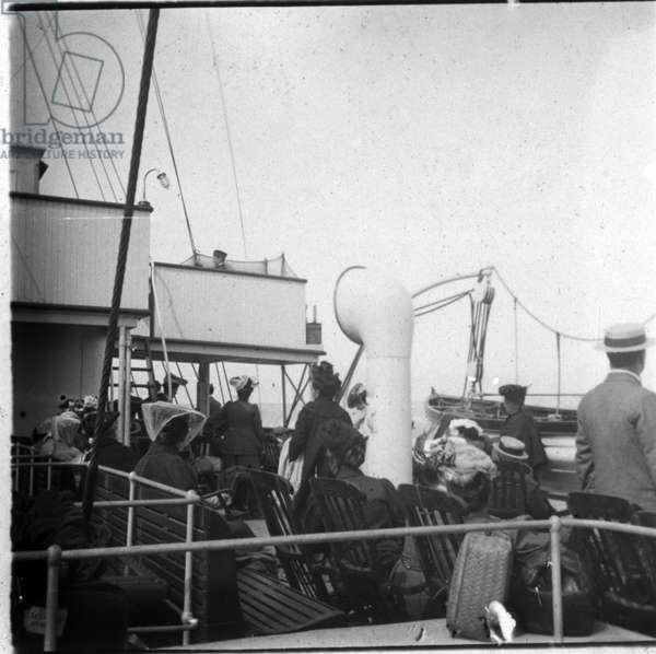 Traveller aboard a liner: crossing the Channel from Boulogne to Folkstone, England. Photograph August 7, 1905.