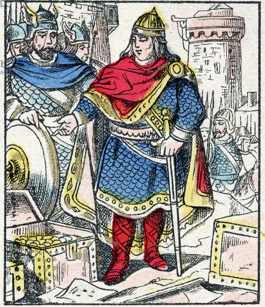 """Charles said """"The Gros"""", the Carolingian dynasty, regained from 884 to 887. Not daring to attack the Normans who besieged Paris, he bought from them Peace. engraving in """"Histoire de France from the most remote times to the present day"""""""" drawing by Jules Pacher. Patriotic imagery of Pont-a-Mousson. Late 19th century. Private collection."""