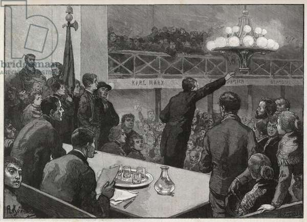 """Meeting for the strike at the Vooruit in 1885 - engraving in 1885 """"Le monde illustrious"""" - drawing by Gerardin"""