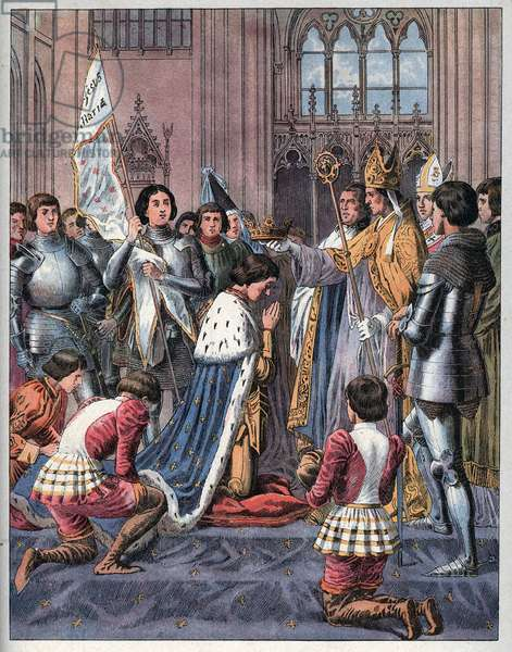 Joan of Arc takes part in the coronation ceremony of Charles VII in Reims on July 17th 1429.