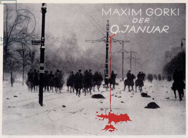 Reproduction of the photomontage by Helmut Herzfeld known as John Heartfield (1891-1968) illustrating the cover of a book by Maxime Gorki (Gorky) in 1926. Private Collection