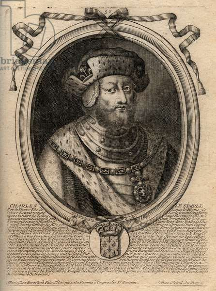 Portrait of Charles III dit le Simple (879-929) king of the Franks - CHARLES III (879-929) - Charles the Simple - King of France, 893-923 - engraving from 'Les Augustes Representations de tous les Kings de France from Pharamond to LouisXIV', Paris, 1679 by Larmessin (family of engravers) (1600-1799)