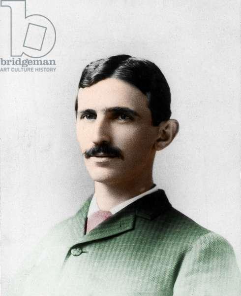 Portrait of Nikola (Nikolaj) Tesla (1857-1943). Electrician engineer and Croatian physicist naturalises American.
