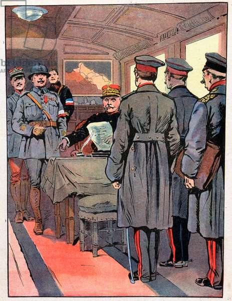 """the Armistice November 1918 - Armistice of 1918 - On November 8, 1918, in a wagon, Ferdinand Foch (1851-1929), after winning the war, dictates the conditions of armistice to the delegates of Germany - Illustration by Georges Conrad (1874-1936) from """""""" Our-Glories-Nationals"""" 1920"""