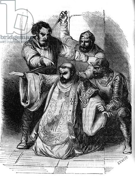Conspiracy against Charlemagne, 792: a lord surprises the conversation between conspirators planning the murder of the King of the Franks. Among them, Pepin the Bossu (769-811), son of Charlemagne. Engraving of the 19th century.