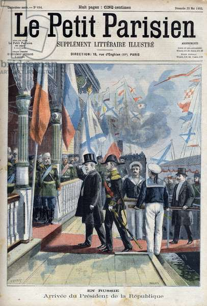 """Arrival of the President of the French Republic Emile Loubet (1838-1929) in Russia,  in """" Le petit Parisien"""""""", 1902 (engraving)"""