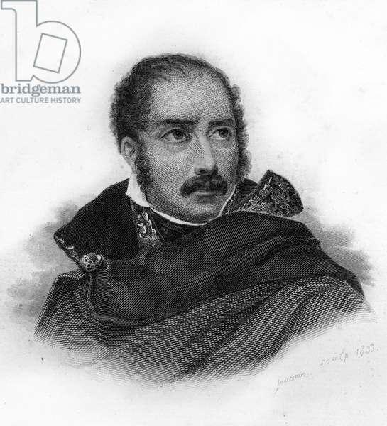 Portrait of Prince Eugene Rose de Beauharnais (1781-1824, son of Alexandre de Beauharnais and Josephine) - engraving, 1833