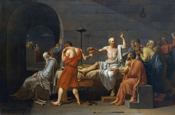Suicide of Socrate, ancient greek philosopher (5th siecle av. JC) had to drink cigue after being accused of impiety and youth corruption, 1787 (oil on canvas)