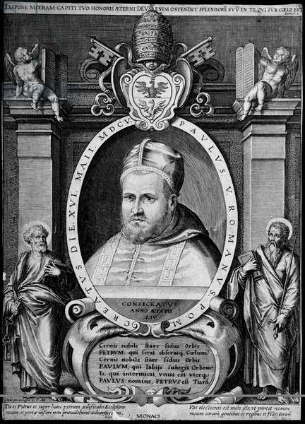 Portrait of the 231st Pope Paul V in 1605 (Camillo Borghese, 1522 - 1621)