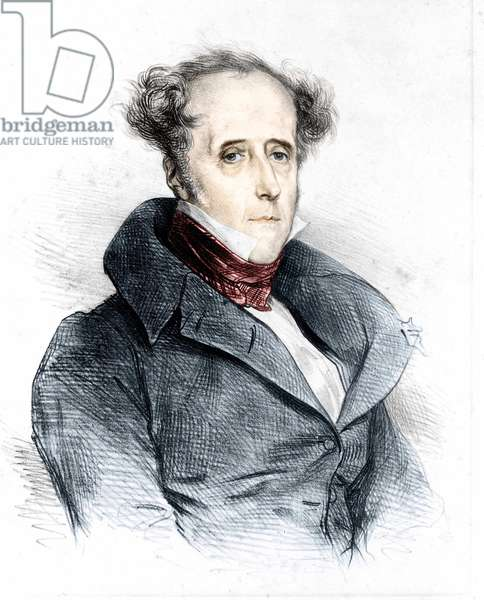 "Portrait of Chateaubriand by Devéria - in the newspaper """" L'Artiste"""", 19th century."