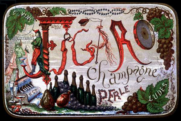 Label of Figaro Champagne Perle. sd. 19th century.