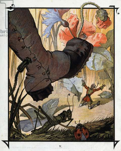 """The gigantic foot of a resident of Brobdingnag fails to crush Lemuel Gulliver in the tall grass. Illustration for """""""" Gulliver's Voyages """""""" by Jonathan Swift (1667-1745)"""