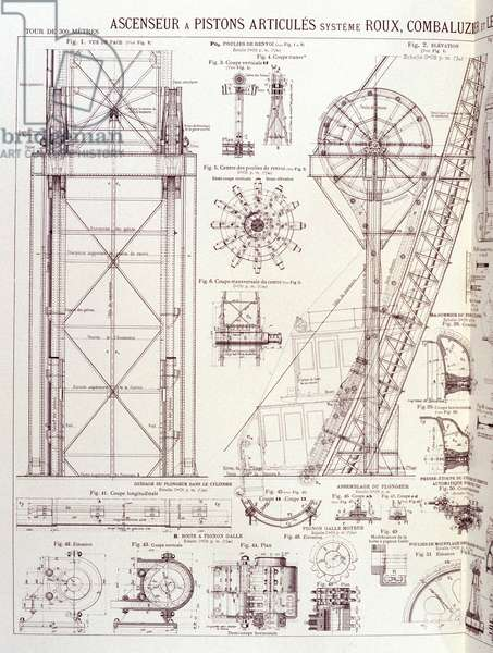 Elevator and articulated pistons of the Eiffel Tower (Roux-Combaluzier system) - industrial design, 19th century