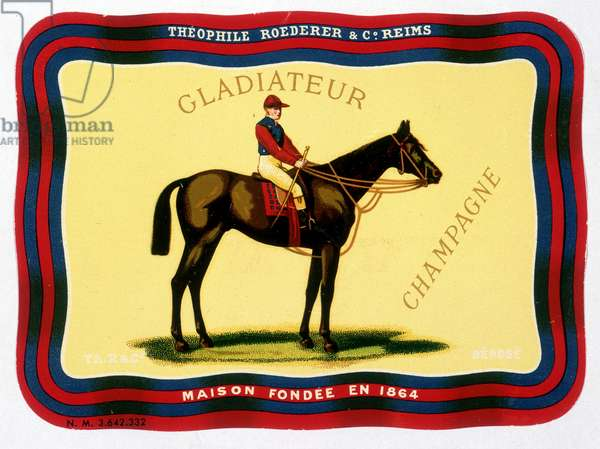 """Advertising label for """""""" Gladiateur Champagne - Théophile Roederer & C¡. Reims - House founded in 1864"""""""". Chromolithography n.d.."""