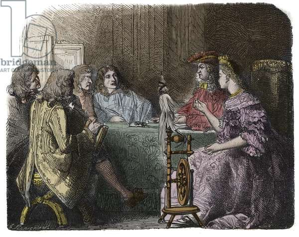 Louis XIV Transacting Business with his Ministers in the Apartments of Madame de Maintenon (engraving)