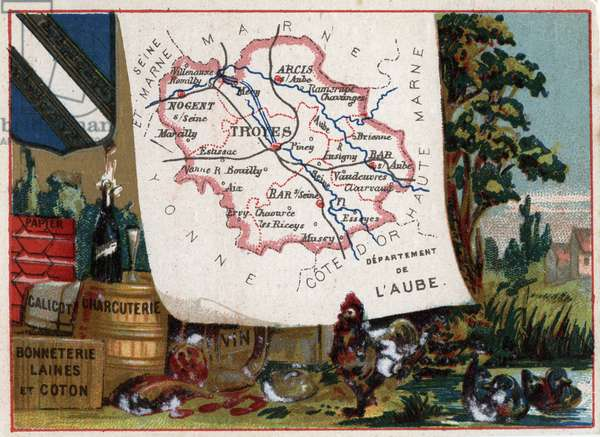 "L'Aube (10), Champagne Ardenne (Champagne-Ardenne), France. Local speciality: cold cuts, calico, paper, wool and cotton hosiery and breeding. Series on the French Departments. Chromolithography (Chromo) """" the geographic thread"""", circa 1920. Private collection."