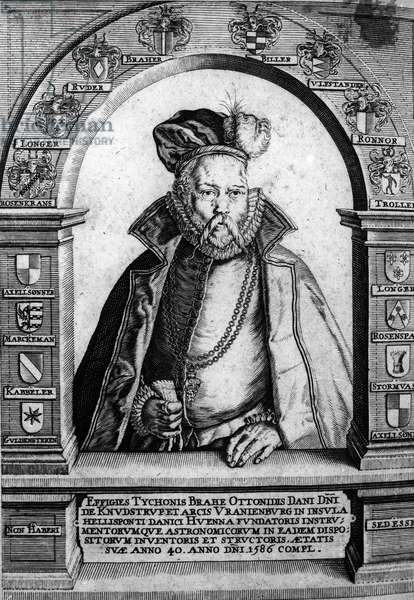 Portrait of Tycho Brahe (1546-1601) Danish astronomer and astrologer - Engraving of the 18th century