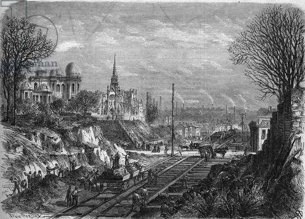 "Transformations of Paris under the Second Empire, Paris Haussmann: piercing the boulevard Arago. Engraving in """" Le Monde Illustrée"""" n°568 of February 29, 1868."