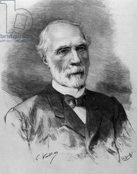 Portrait of Charles de Freycinet (1828 - 1923), President of the Council of Ministers. Engraving of the 19th century.