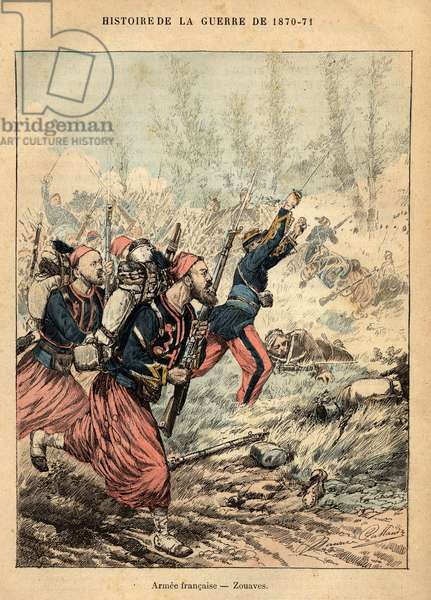 "French Armee: Zouaves - Engraving by Maurice Pallandre in ""The fighters of 1870-71"""" by the commander Leonce Rousset (1850-1938) - Franco-German War"""" (1870-1871) - Franco Prussian War - (Deutsch-Franzosischer Krieg)"