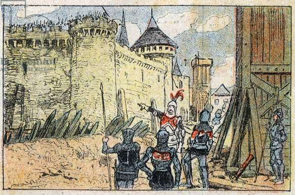 The seat of Montargis in the Loiret in 1427 by the English.Engraving of 1907.