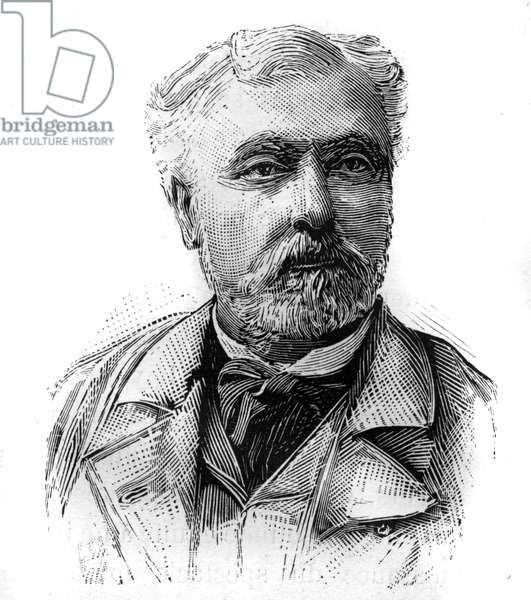 """Portrait of Hyacinthe Laurent Theophile Aube (1826-1890), French admiral and politician. Engraving in """""""" Le Monde Illustré"""""""", January 16, 1886."""