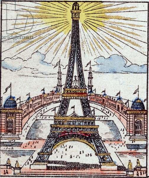 "The Eiffel Tower has the world exhibition of 1889 in Paris. Engraving in ""Histoire de France from the most remote times to the present day"""" drawing by Jules Pacher. Patriotic imagery of Pont-a-Mousson. Late 19th century. Private collection."