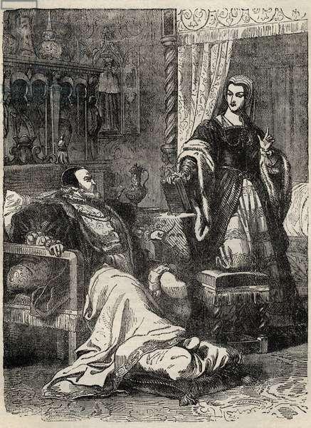"Henry VIII and the Queen Catherine Parr (1512-1548) - engraving from """" History of England"" by Cassell Petter & Galpin"